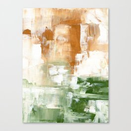 Ejaaz Haniff Abstract Acrylic Palette Knife Painting Olive Green Yellow Ochre: 'Sunny Valley One' Canvas Print