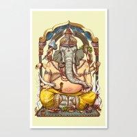 ganesha Canvas Prints featuring Ganesha by Pirates of Brooklyn