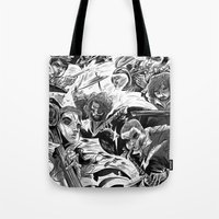 """band Tote Bags featuring """"Milkbread"""" band poster by Logan  Faerber"""