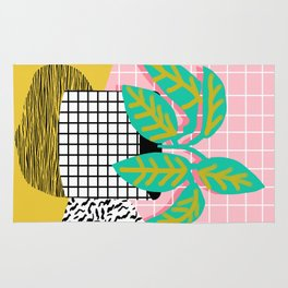 Get Real - potted plant throwback retro neon 1980s style art print minimal abstract grid lines shape Rug