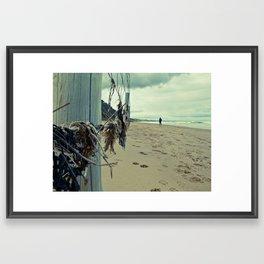 Ocean Fence Weeds Framed Art Print