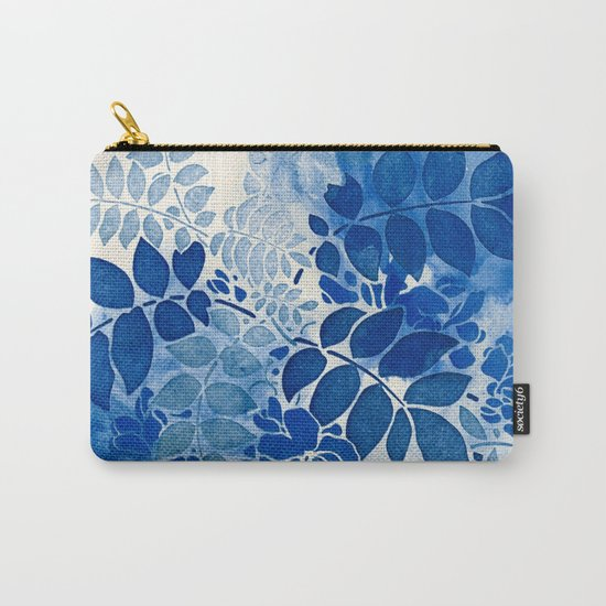 monochrome floral in blue Carry-All Pouch