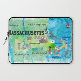USA Massachusetts State Travel Poster Map with Touristic Highlights Laptop Sleeve