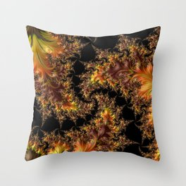 Autumn Leaves yellow brown orange Fractal Throw Pillow