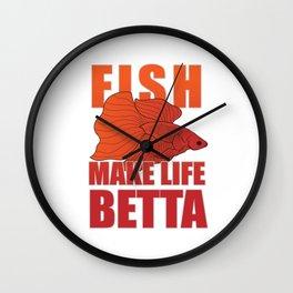 Fighting Fish Make Life Betta Splendens Aquarium Lover Wall Clock