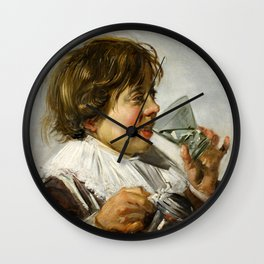 """Frans Hals """"Boy with a glass and a tin can"""" Wall Clock"""