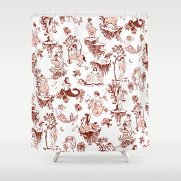 Classic Ruby Pink Zodiac-Inspired Toile Pattern Shower Curtain