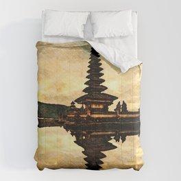 Bali Temple Silhouette Comforters