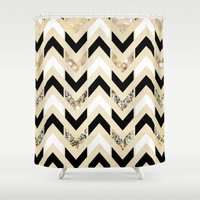 samsung Shower Curtains featuring Black, White & Gold Glitter Herringbone Chevron on Nude Cream by Tangerine-Tane