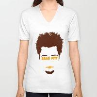 brad pitt V-neck T-shirts featuring Brad Pitt Minimalist by Maxvtis