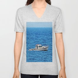 Little Boat on a Big Sea Unisex V-Neck