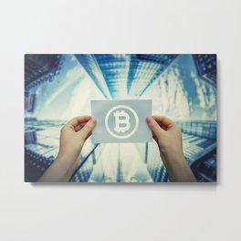 holding bitcoin symbol Metal Print