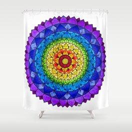 Rainbow Chakra Flower Mandala Colored Pencil Drawing by Imaginarium Creative Studios Shower Curtain