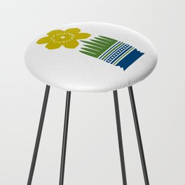 Nordic Yellow Flower Counter Stool