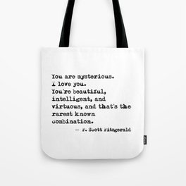 Beautiful, intelligent and virtuous - F Scott Fitzgerald quote Tote Bag