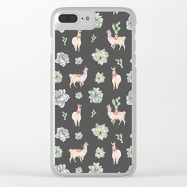 Cute Llamas & Amaryllis Floral Pattern Clear iPhone Case