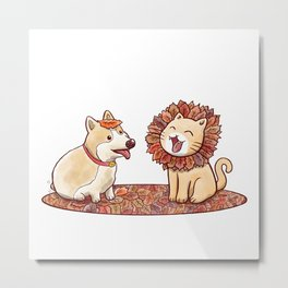 Corgi dog and a cat imitating lion with mane made of autumn leaves Metal Print