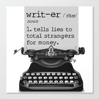writer Canvas Prints featuring Writer Defined by Nicole Austin