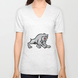 Bulldog Dog Mongrel Prowling Cartoon Unisex V-Neck