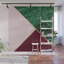 Green Marble with burgundy Wall Mural