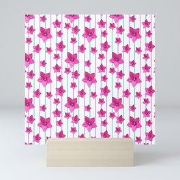 Flowers and Color Lines - Pink Mini Art Print