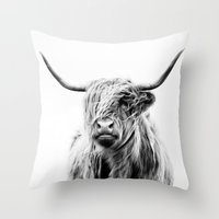 high Throw Pillows featuring portrait of a highland cow by Dorit Fuhg