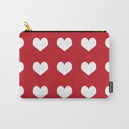 Hearts red and white minimal valentines day love gifts minimal gender neutral Carry-All Pouch