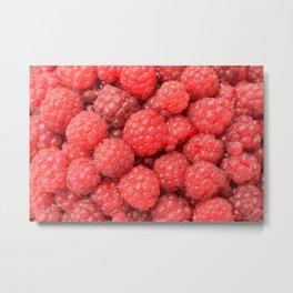 Delicious raspberries food pattern Metal Print