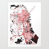 san francisco map Art Prints featuring San Francisco Noise Map by ARTITECTURE