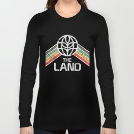 The Land Pavilion at EPCOT Center Vintage Styled Logo with Rainbow Long Sleeve T-shirt