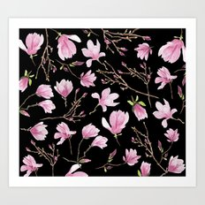 Magnolias Black Art Print