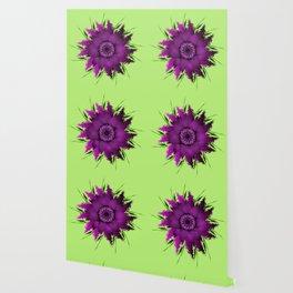 Lilac, purple peony flower. Close-blown peony flower dahlia or on gentle green background. Wallpaper