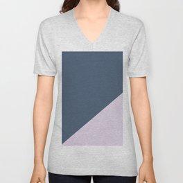 Dark Blue & Pastel Pink - oblique Unisex V-Neck