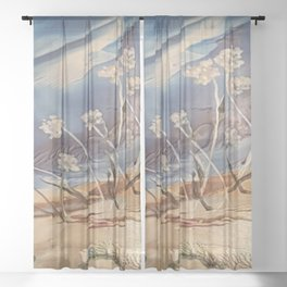 Spring White flowers Sheer Curtain