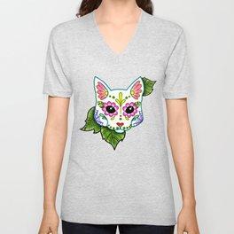 White Cat - Day of the Dead Sugar Skull Kitty Unisex V-Neck
