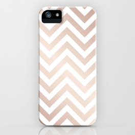 Chevron rose gold and white iPhone Case