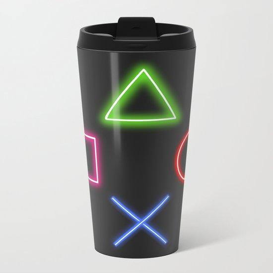 Neon Buttons Metal Travel Mug