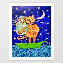 Willow and Felix Row Row Row Art Print