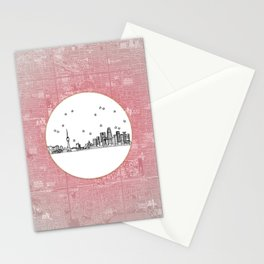 Beijing, China City Skyline Illustration Drawing Stationery Cards