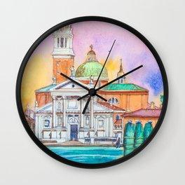 Venice. San Giorgio Maggiore. Andrea Palladio. Architecture. Watercolor Wall Clock