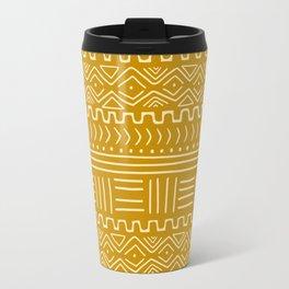 Mud Cloth on Mustard Travel Mug