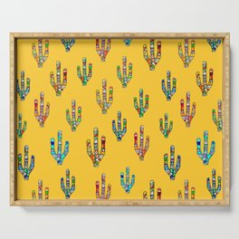 Mosaic Cacti on Yellow Serving Tray