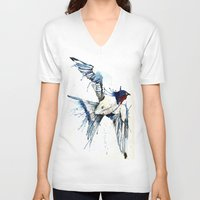 swallow V-neck T-shirts featuring My Swallow by Meg Ashford