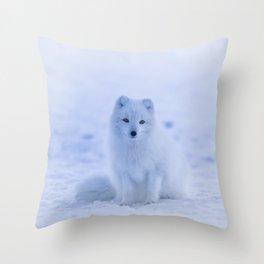 White Snow Fox Softness Throw Pillow