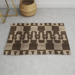 Chess Pieces Pattern - wooden texture Rug