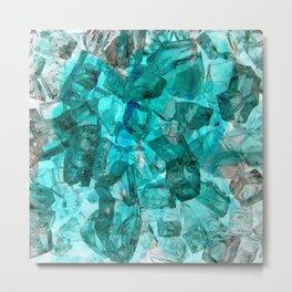 Turquoise Glass Chrystal Abstract Metal Print