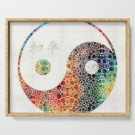 Yin And Yang - Colorful Peace - By Sharon Cummings Serving Tray