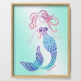 Tribal Mermaid with Ombre Turquoise Background Serving Tray