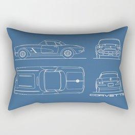 The Corvette C1 Blueprint Rectangular Pillow
