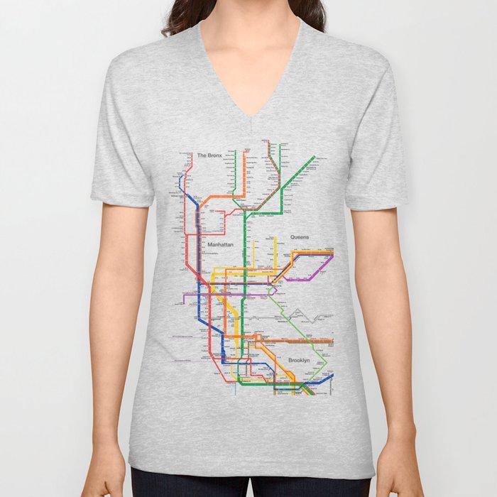 New York City subway map Unisex V-Neck